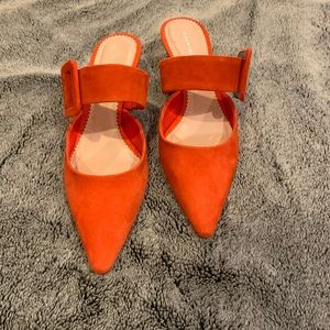 ZARA Leather Heeled Mules with Buckle (8) orange